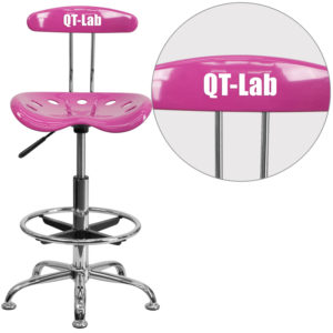 Wholesale Personalized Vibrant Candy Heart and Chrome Drafting Stool with Tractor Seat