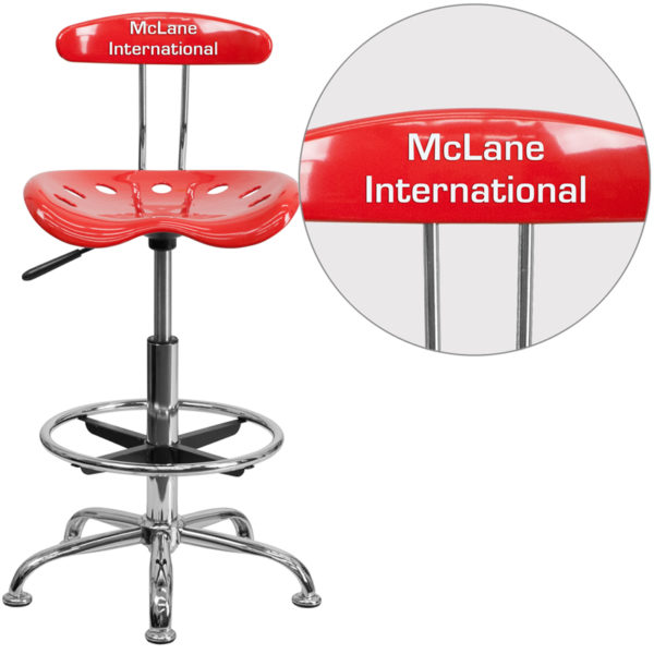 Wholesale Personalized Vibrant Cherry Tomato and Chrome Drafting Stool with Tractor Seat