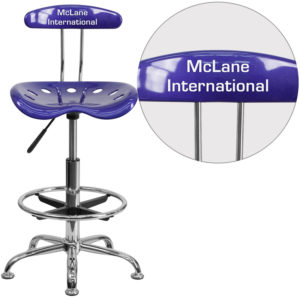 Wholesale Personalized Vibrant Deep Blue and Chrome Drafting Stool with Tractor Seat