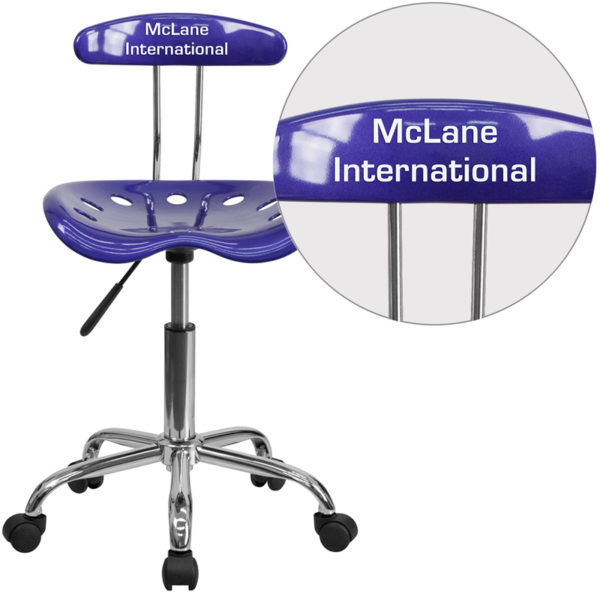 Wholesale Personalized Vibrant Deep Blue and Chrome Swivel Task Office Chair with Tractor Seat