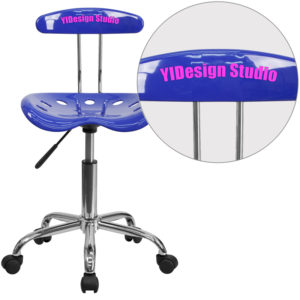Wholesale Personalized Vibrant Nautical Blue and Chrome Swivel Task Office Chair with Tractor Seat