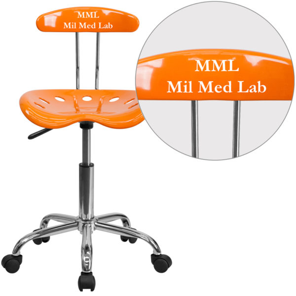 Wholesale Personalized Vibrant Orange and Chrome Swivel Task Office Chair with Tractor Seat