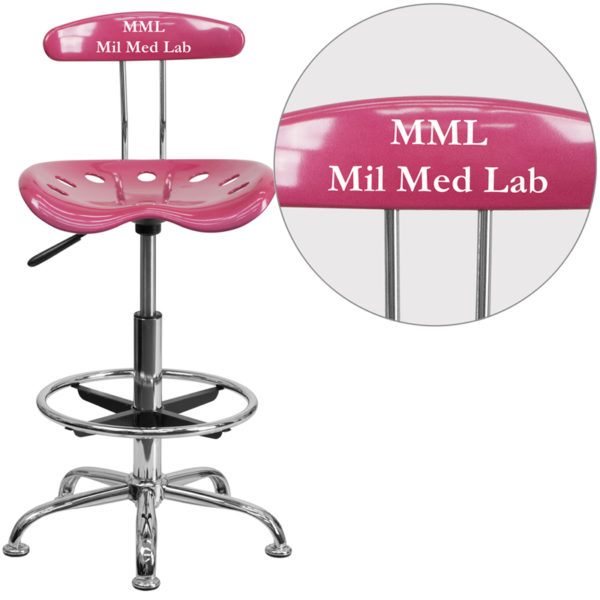 Wholesale Personalized Vibrant Pink and Chrome Drafting Stool with Tractor Seat