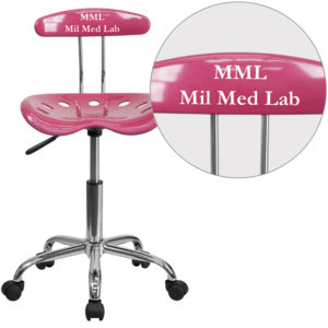 Wholesale Personalized Vibrant Pink and Chrome Swivel Task Office Chair with Tractor Seat