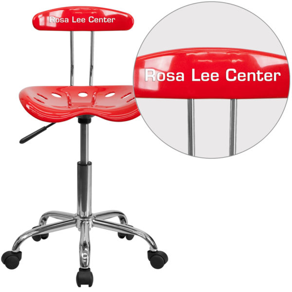 Wholesale Personalized Vibrant Red and Chrome Swivel Task Office Chair with Tractor Seat