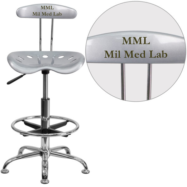 Wholesale Personalized Vibrant Silver and Chrome Drafting Stool with Tractor Seat