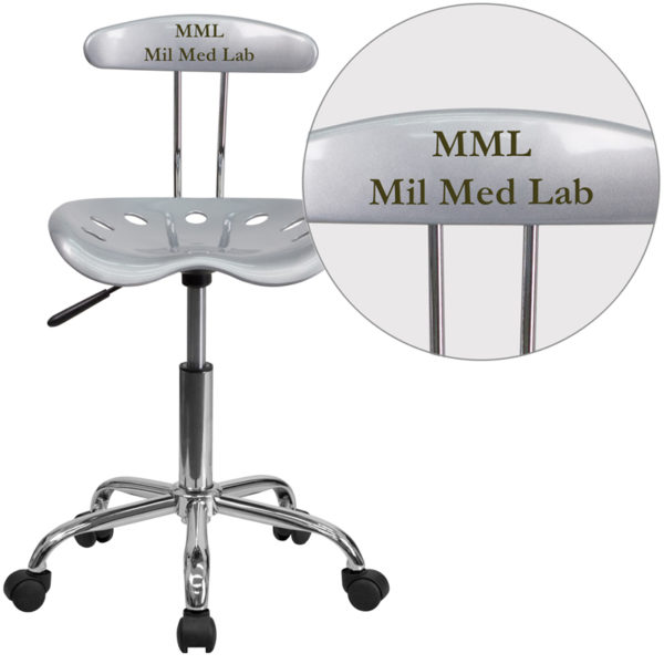 Wholesale Personalized Vibrant Silver and Chrome Swivel Task Office Chair with Tractor Seat