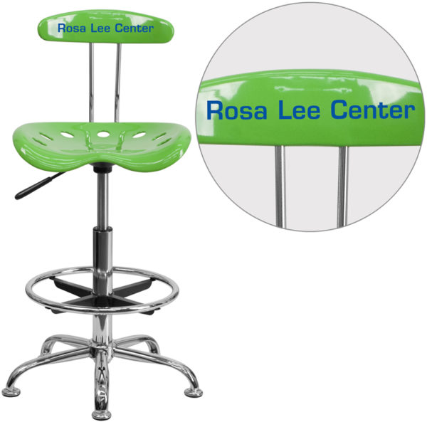 Wholesale Personalized Vibrant Spicy Lime and Chrome Drafting Stool with Tractor Seat