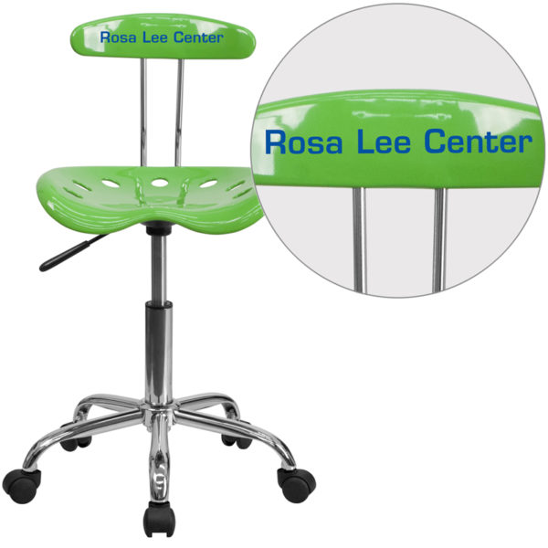 Wholesale Personalized Vibrant Spicy Lime and Chrome Swivel Task Office Chair with Tractor Seat