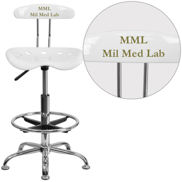 Wholesale Personalized Vibrant White and Chrome Drafting Stool with Tractor Seat