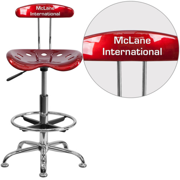 Wholesale Personalized Vibrant Wine Red and Chrome Drafting Stool with Tractor Seat