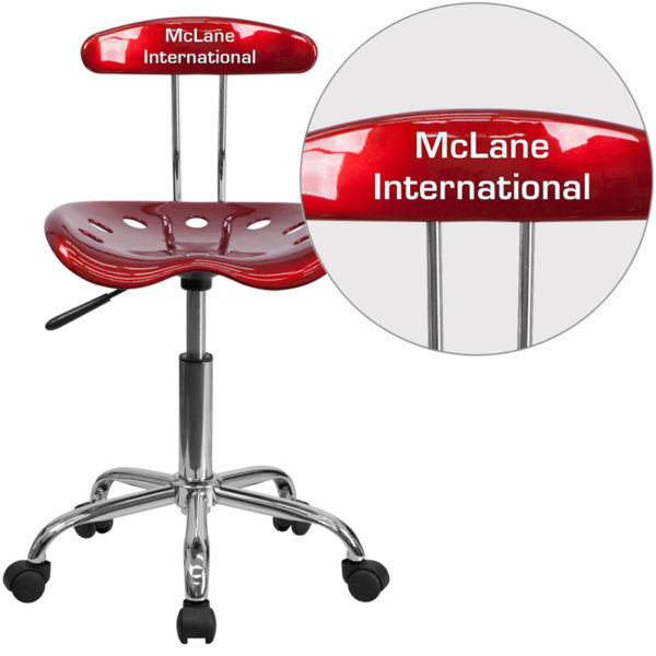 Wholesale Personalized Vibrant Wine Red and Chrome Swivel Task Office Chair with Tractor Seat
