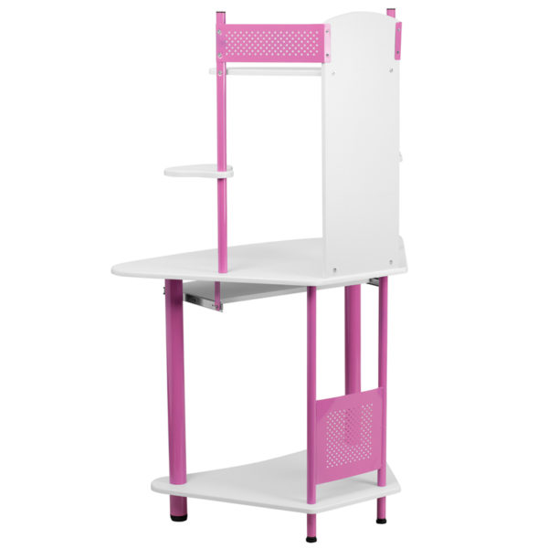Lowest Price Pink Corner Computer Desk with Hutch