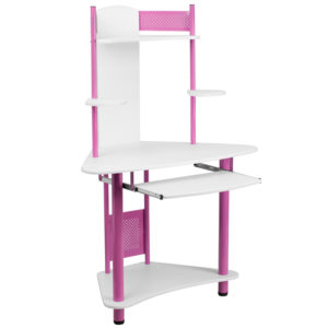 Wholesale Pink Corner Computer Desk with Hutch