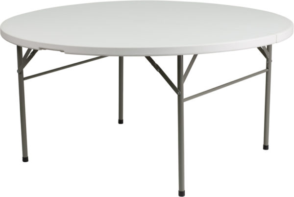Wholesale Plastic Folding Table | 5 Foot White Plastic Round Folding Table