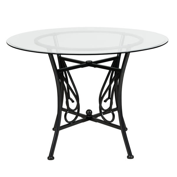 Lowest Price Princeton 42'' Round Glass Dining Table with Black Metal Frame