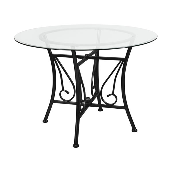 Wholesale Princeton 42'' Round Glass Dining Table with Black Metal Frame