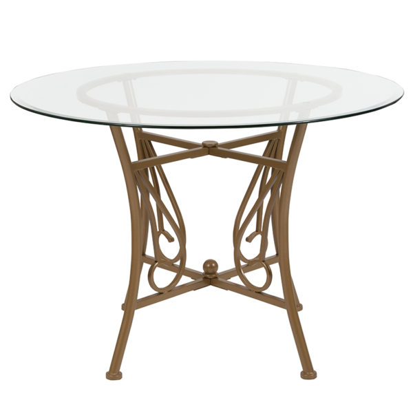 Lowest Price Princeton 42'' Round Glass Dining Table with Matte Gold Metal Frame
