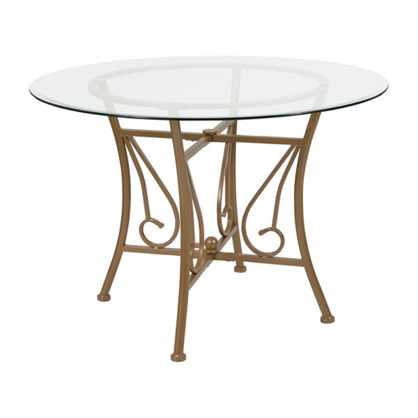 Wholesale Princeton 42'' Round Glass Dining Table with Matte Gold Metal Frame