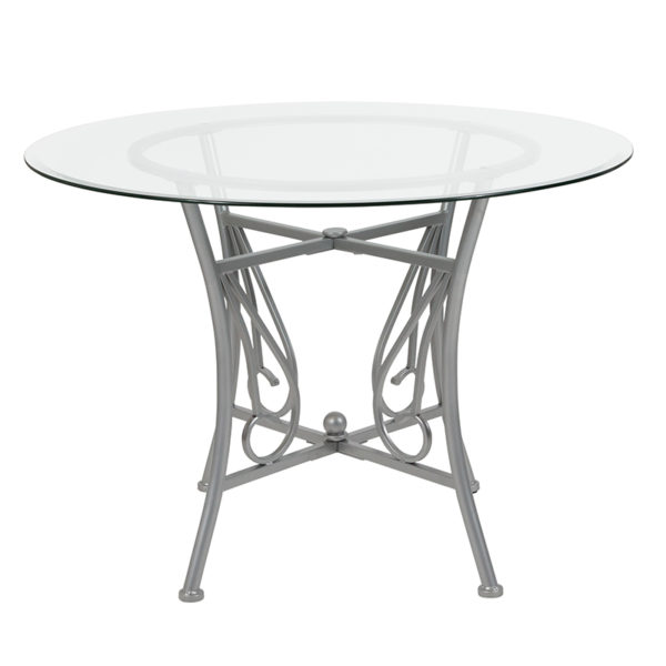 Lowest Price Princeton 42'' Round Glass Dining Table with Silver Metal Frame