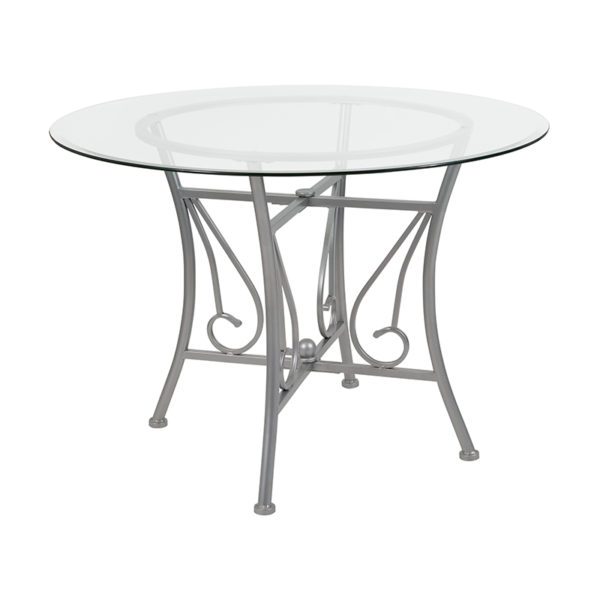Wholesale Princeton 42'' Round Glass Dining Table with Silver Metal Frame