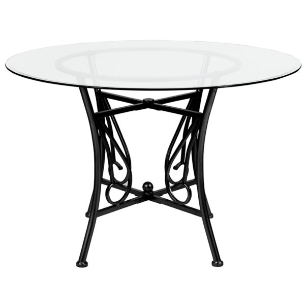 Lowest Price Princeton 45'' Round Glass Dining Table with Black Metal Frame
