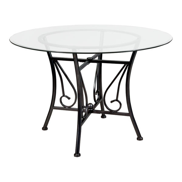 Wholesale Princeton 45'' Round Glass Dining Table with Black Metal Frame