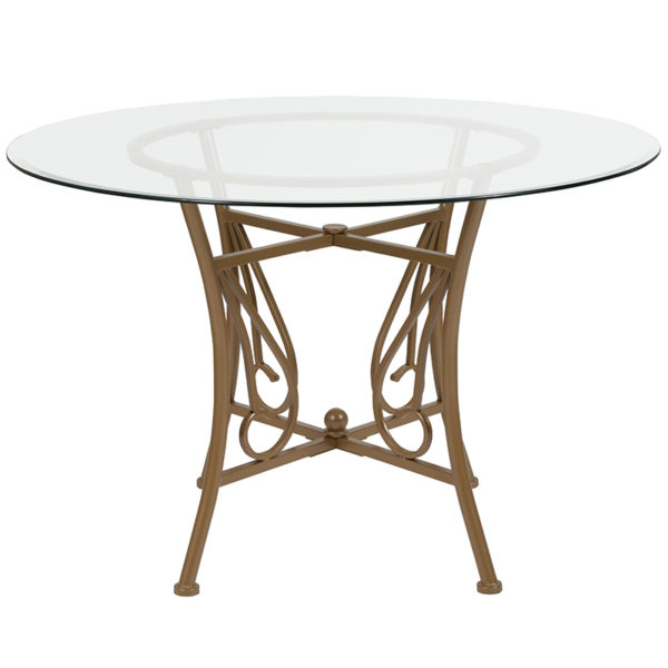 Lowest Price Princeton 45'' Round Glass Dining Table with Matte Gold Metal Frame