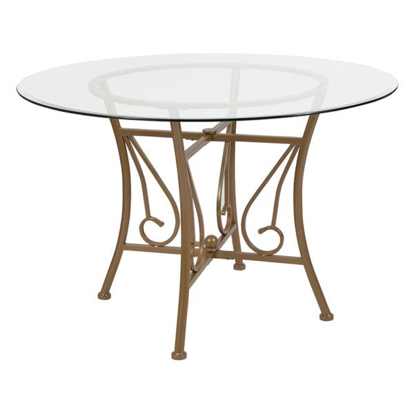 Wholesale Princeton 45'' Round Glass Dining Table with Matte Gold Metal Frame
