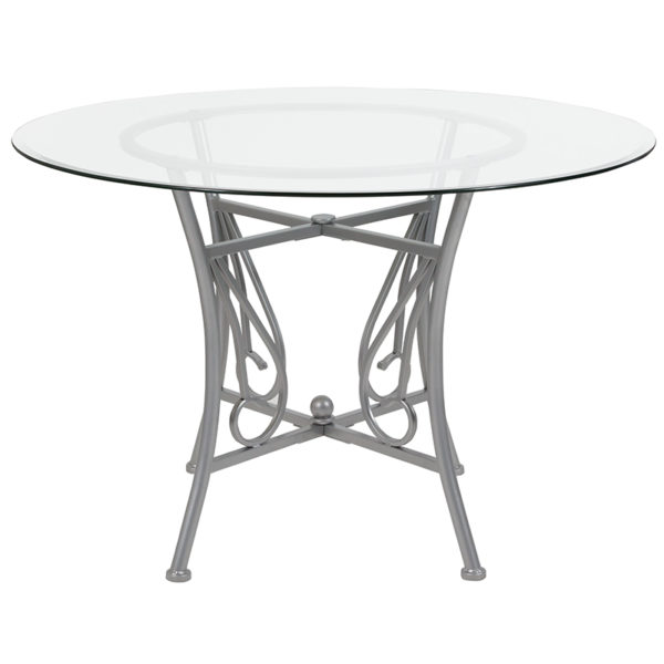 Lowest Price Princeton 45'' Round Glass Dining Table with Silver Metal Frame