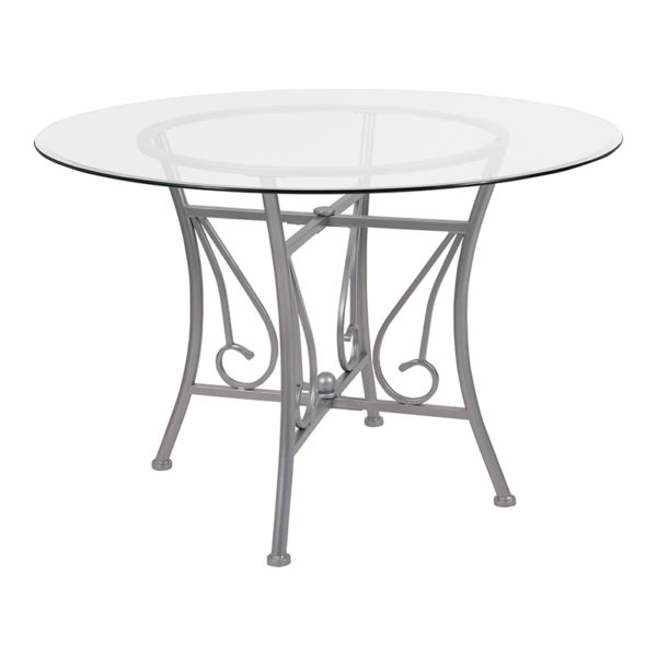 Wholesale Princeton 45'' Round Glass Dining Table with Silver Metal Frame