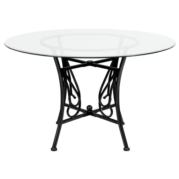 Lowest Price Princeton 48'' Round Glass Dining Table with Black Metal Frame