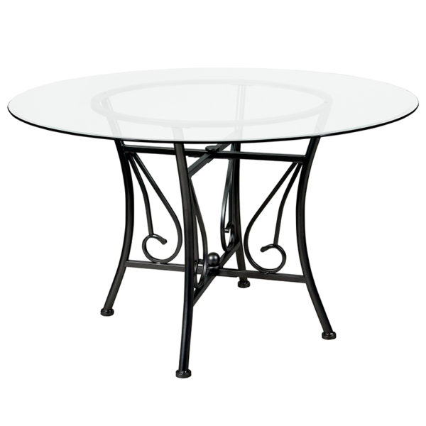 Wholesale Princeton 48'' Round Glass Dining Table with Black Metal Frame