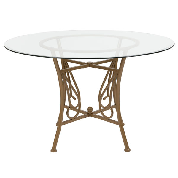 Lowest Price Princeton 48'' Round Glass Dining Table with Matte Gold Metal Frame