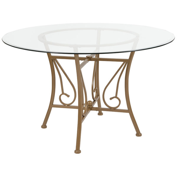 Wholesale Princeton 48'' Round Glass Dining Table with Matte Gold Metal Frame