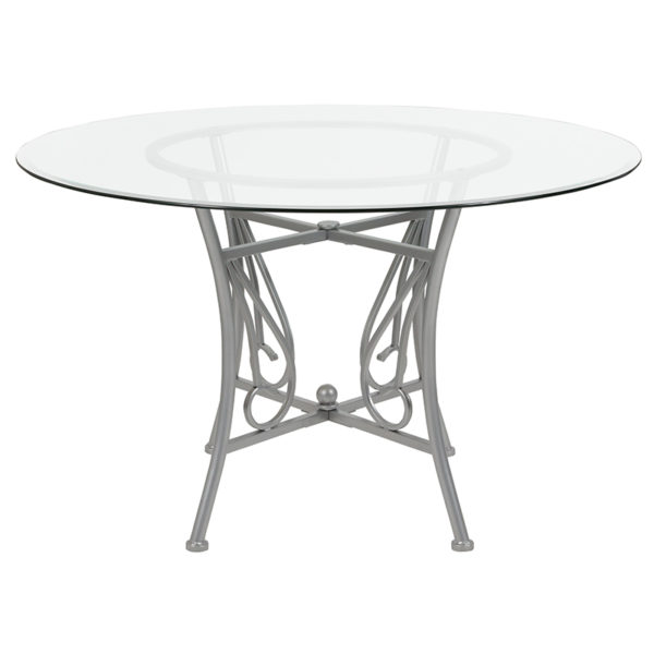 Lowest Price Princeton 48'' Round Glass Dining Table with Silver Metal Frame