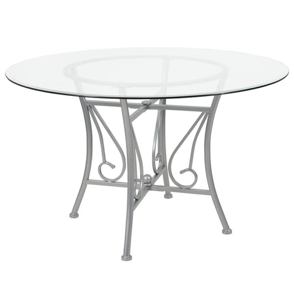 Wholesale Princeton 48'' Round Glass Dining Table with Silver Metal Frame
