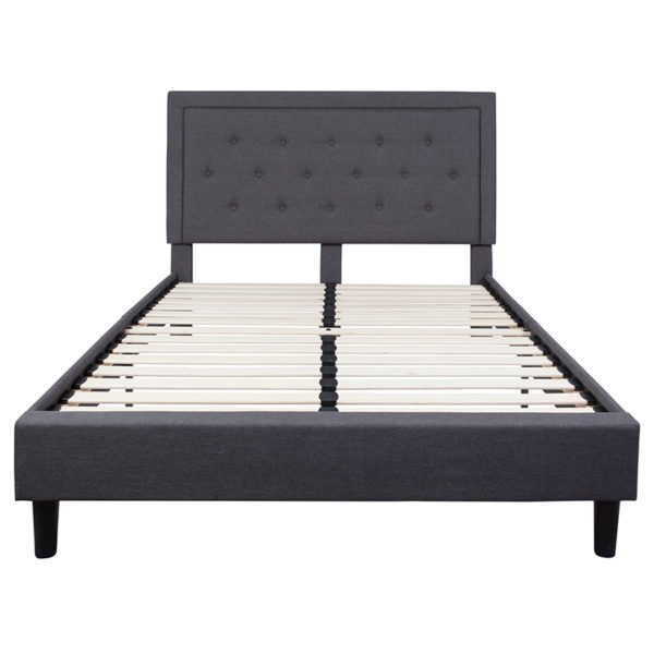 Queen platform bed Queen Platform Bed-Dark Gray