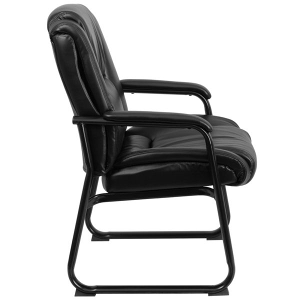 Lowest Price Reception Chairs | Black LeatherSoft Side Chairs for Reception and Office