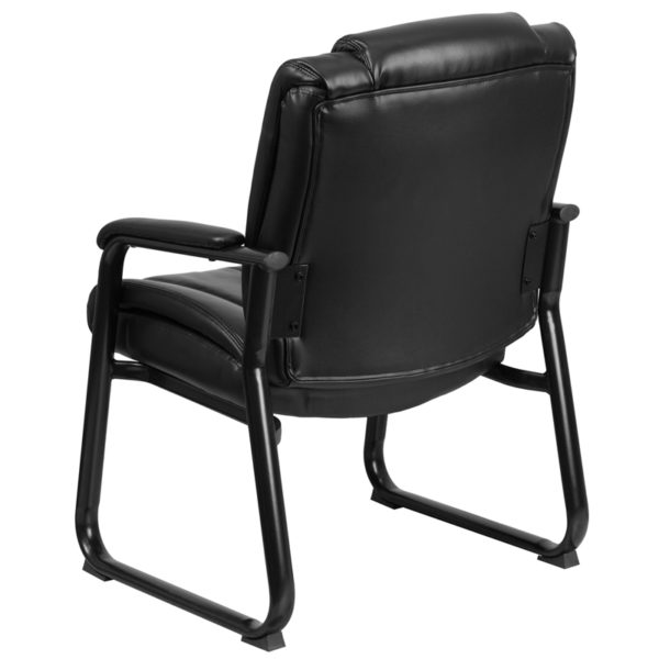 Reception and office side chairs Black Leather Side Chair