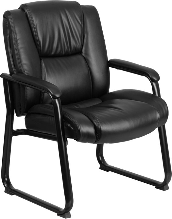 Wholesale Reception Chairs | Black LeatherSoft Side Chairs for Reception and Office