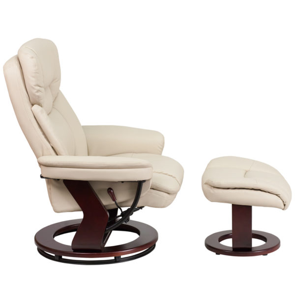 Lowest Price Recliner Chair with Ottoman | Beige LeatherSoft Swivel Recliner Chair with Ottoman Footrest