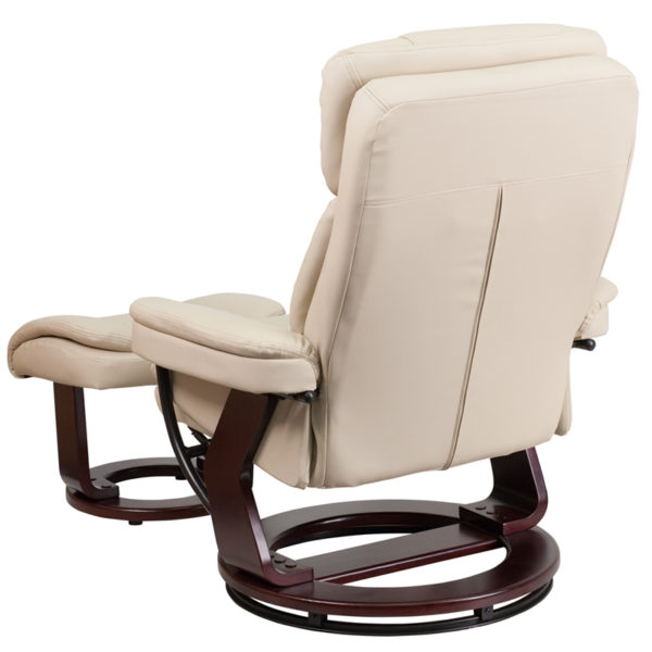 Recliner chair with ottoman Beige Leather Recliner&Ottoman
