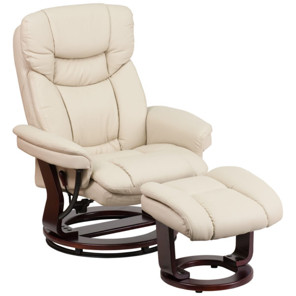 Wholesale Recliner Chair with Ottoman | Beige LeatherSoft Swivel Recliner Chair with Ottoman Footrest