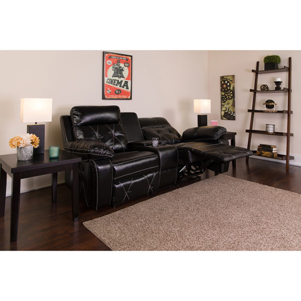 Lowest Price Reel Comfort Series 2-Seat Reclining Black Leather Theater Seating Unit with Straight Cup Holders