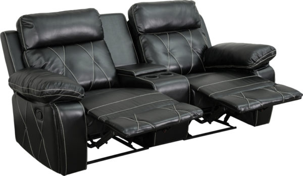 Wholesale Reel Comfort Series 2-Seat Reclining Black Leather Theater Seating Unit with Straight Cup Holders