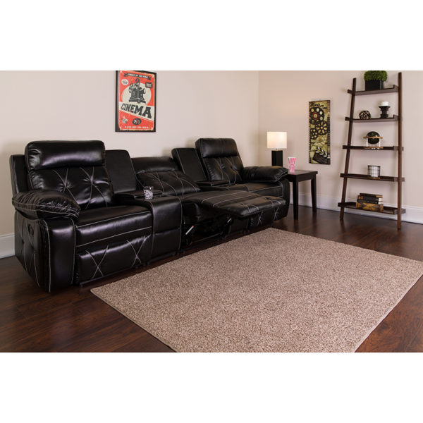 Lowest Price Reel Comfort Series 3-Seat Reclining Black Leather Theater Seating Unit with Straight Cup Holders