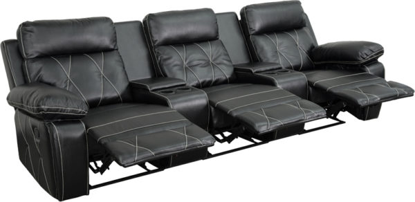 Wholesale Reel Comfort Series 3-Seat Reclining Black Leather Theater Seating Unit with Straight Cup Holders