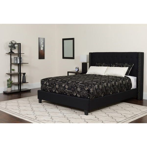 Wholesale Riverdale Full Size Tufted Upholstered Platform Bed in Black Fabric with Pocket Spring Mattress