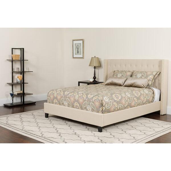 Wholesale Riverdale King Size Tufted Upholstered Platform Bed in Beige Fabric with Pocket Spring Mattress
